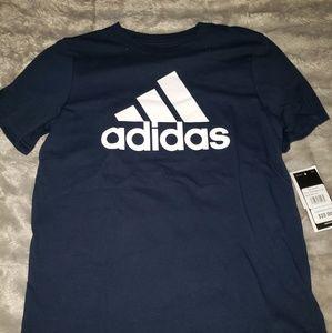 Navy white Adidas M 10/12 Boys SS T shirt NWT